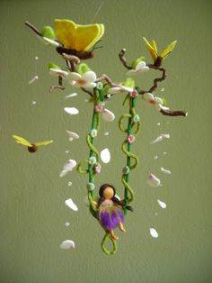Spring mobile - Fairy on the swing with butterflies - felted, waldorf inspired, by Naturechild. $144.00, via Etsy.  LOVE IT, BUT CANNOT AFFORD IT!!!