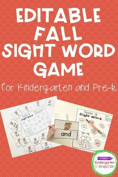Fall is in the air and what could be more fun than fall-themed activities for your Pre-K to first grade students, like this adorable Editable Sight Word Game featuring one of our favorite fall characters, the squirrel. This fun activity is a perfect addition to your list of early childhood education activities. It's great for use in your homeschool or traditional classroom setting! #learningactivities #kindergarten #prek #preschool #preschoolactivities
