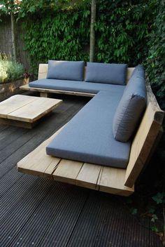 New Garden Seating Diy Outdoor Couch Ideas Corner Seating, Lounge Seating, Outdoor Seating, Outdoor Decor, Outdoor Lighting, Seating Areas, Lighting Ideas, Cheap Patio Furniture, Pallet Garden Furniture