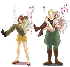 Tags: Axis Powers: Hetalia, Germany, South Italy, Axis Power Countries, Mediterranean Countries, Nyotalia, Translation Request, Germanic Countries, Prussia (Female), North Italy (Female), Pixiv Id 6310883