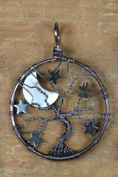 Gunmetal Crescent Moon and Stars Tree of Life Pendant Wire Wrapped Hematite Night Sky