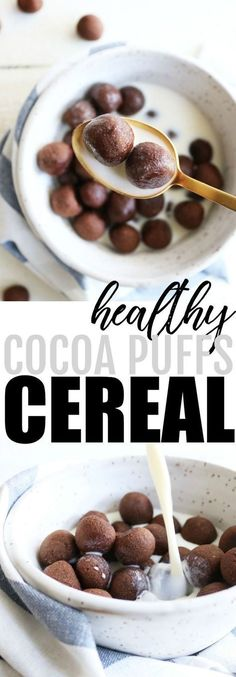 Healthy Cocoa Puffs Cereal Chocolate for breakfast? I'm in! Try these healthy and homemade cocoa puffs cereal for a delicious way to start your day! Cereal Keto, Healthy Cereal, Healthy Breakfast Cereal, Kashi Cereal, Quinoa Cereal, Trix Cereal, Baby Cereal, Granola Cereal, Cereal Bars