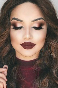18 Most Gorgeous Prom Makeup Looks Dark Makeup Gorgeous Makeup Prom Burgundy Makeup Look, Purple Makeup Looks, Vintage Makeup Looks, Soft Makeup Looks, Glitter Makeup Looks, Red Lips Makeup Look, Makeup Looks For Brown Eyes, Glam Makeup Look, Fall Makeup Looks