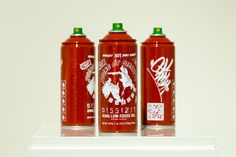 Heat: Taste Changing Condiments Exhibition Recap: Nowadays, it seems unheard of to take in a nice phở, food platter, or even a pizza without Sriracha Food Inc, Spray Can, Food Platters, Photography Website, Coffee Bottle, The Best, Street Art, Things To Come, Canning