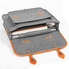 Briefcase Macbook Satchel Wool Felt Backpack Shoulder Bag | Etsy Macbook Bag, Macbook Sleeve, Laptop Bag, Thick Leather, Leather Handle, Leather Bag Tutorial, Ipad Bag, Casual Bags, Leather Craft