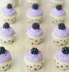 Vanilla Cupcakes with Blackberry Buttercream frosting   use vanilla soymilk
