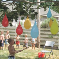 WATER BALLOON PINATA....this is the BEST party game idea for Kids & they will love it! Featured on our Best backyard games for kids & adults!    http://kitchenfunwithmy3sons.com/2016/05/30-best-diy-backyard-games.html/
