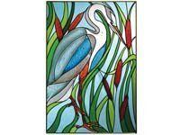 """Great Blue Heron in Cattails Art Glass Panel Wall Window Hanging Suncatcher 20 x 14 by eEarthExchange. $62.95. **  ** SHIPS UPS - Order BY DECEMBER 13 for CHRISTMAS DELIVERY **  **. eEarth Exchange carries MORE suncatchers in our store. Comes with hooks and chain for immediate placement. Proudly Made in the USA, ships via UPS Ground with insurance.. 20.5"""" x 14"""", Painted Glass, Metal frame. Like no other product, art glass delivers high visual impact! The rich, vibrant look of s..."""