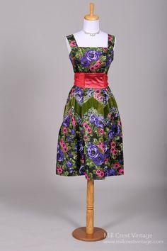 1950 Floral Sequin Vintage Cocktail Dress