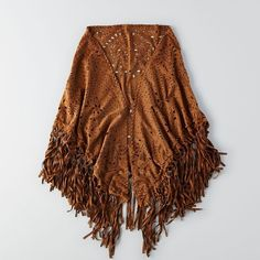 AEO Perforated Shawl ($50) ❤ liked on Polyvore featuring accessories, scarves, tan, fringe scarves, fringed shawls, shawl scarves and american eagle outfitters