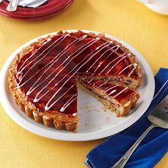 Raspberry Almond Tart Recipe -This delicious torte is a longtime family tradition for the holidays. It's one of my sister's favorites, and she's a professional pastry chef.