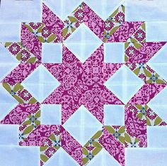 """free tutorial makes an 18"""" block.  I think I have a much larger version of this carpenter star but now no need to scale it down. Star Quilt Blocks, Star Quilt Patterns, Star Quilts, Mini Quilts, Scrappy Quilts, Craft Patterns, Quilting Tutorials, Quilting Projects, Quilting Designs"""