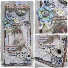 Paperbag card created by LLC DT Member Elin Torbergsen, using papers and image from Pion Design (Vintage Garden).