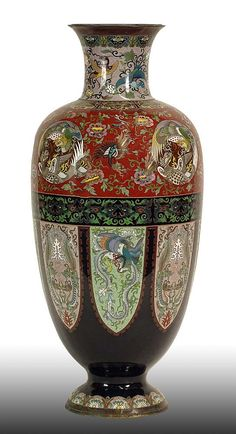 Large Meiji Japanese Cloisonné Vase. Meticulous Bird Motif. Unsigned. Good Condition or better. Measures 24 Inches Tall, 12 Inches Wide.