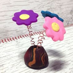 """Polymer Clay Handmade """"Spring"""" Flowers in a Vase by rosebud101 on Etsy"""