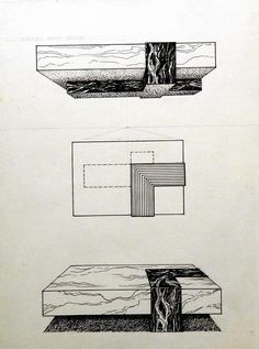 """No wood on this 6'-0"""" x 4'-0"""" marble coffee table. The top drawing shows the underside; the middle is the table in Plan; the bottom drawing is a perspective. It took six men to move this baby into place. I imagine it's still where they set it down. - L.W,ROTH"""