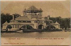 Detroit Michigan MI 1905 Belle Isle Park Pavilion Lake Antique Vintage Postcard