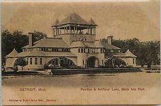 Detroit Michigan MI 1905 Belle Isle Park Pavilion Lake Antique Vintage Postcard