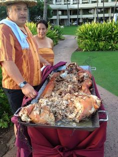 Kaula pork which is prepared at the Hyatt Poipu for their luau.