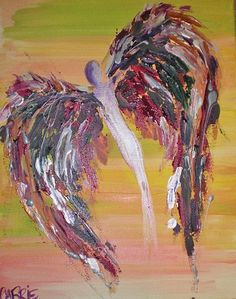 Acrylic Painting Original Angel Winged Woman  Her by CARRIERYANART, $275.00