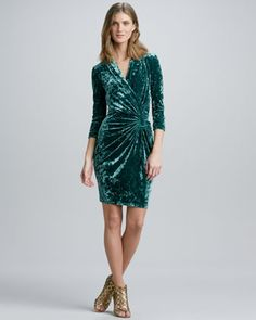 Faux-Wrap Crushed Velvet Dress by Catherine Malandrino at Neiman Marcus.