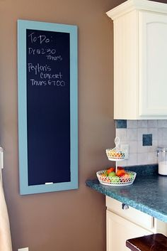 DIY Chalkboard - I want to make one for each of the kids' bedrooms!  I think it would be so much fun for them...just as long as they don't write on the walls of course!