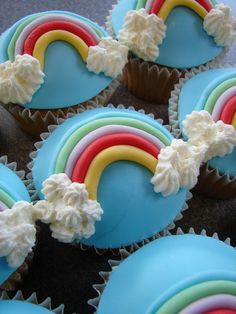 Rainbow Cupcakes (with frosting instead of candy rainbow) for Noah's Ark week.