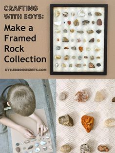 Little Birdie Secrets: make a framed rock collection tutorial {crafting with boy. - Ideas of Decoration Science Bedroom, Crafts For Boys, Displaying Collections, Kids Bedroom, Bedroom Ideas, Nature Bedroom, Craft Activities, Family Activities, Craft Tutorials