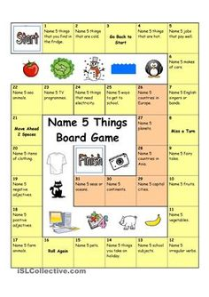 Board Game - Name 3 Things (Easy) - English ESL Worksheets for distance learning and physical classrooms English Activities, Activities For Kids, English Games For Kids, English Games Ks2, Seasons Activities, Articulation Activities, Physical Activities, English Lessons, Learn English