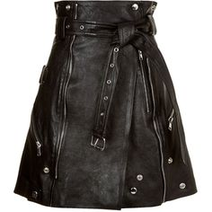 Alexander McQueen Leather Mini Skirt ($4,035) ❤ liked on Polyvore featuring skirts, mini skirts, alexander mcqueen, short wrap skirt, wrap around skirt and leather waist belt