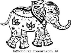 Free art print of Ethnic ornamented baby elephant. The stylized figure of an elephant in the festive patterns Elephant Colour, Elephant Love, Elephant Art, Elephant Tattoos, Elefante Tattoo, Elephant Coloring Page, Baby Elefant, Free Art Prints, Coloring Book Pages