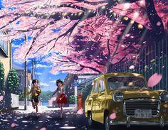 building car cherry blossoms nauimusuka original petals | konachan.com - Konachan.com Anime Wallpapers