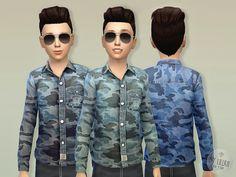 Camouflage Poplin Shirt by lillka at TSR via Sims 4 Updates