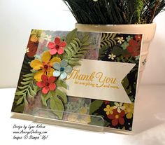 handmade thank you card from www.averysowlery.com  ... Botanical Bloom die cut with dimension ... vellum panel tones down matching print paper in bright colors ... Stampin' Up!