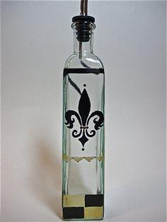 fleur de lis painted bottles | Glass Olive Oil Bottle - Hand painted - Fleur de lis