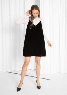 & Other Stories image 2 of Strap Velvet Dress in Black