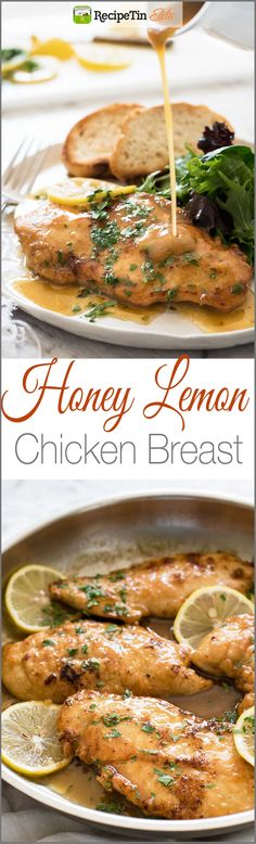 Honey Lemon Chicken - Golden brown chicken breast with a gorgeous honey lemon sauce. On the table in 15 minutes!