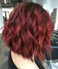 Red hair, ruby red hair, bright red hair, red velvet hair co Red Bob Hair, Short Red Hair, Red Ombre Hair, Dyed Red Hair, Bright Red Hair, Short Hair Styles, Ruby Red Hair Color, Dark Red Hair Dye, Burgundy Hair