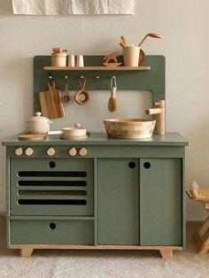 Kids Play Kitchen, Little Kitchen, Kids Wooden Kitchen, Kitchen Sets For Kids, Toddler Kitchen, Play Kitchens, Kids Sink, Childrens Play Kitchen, Green Plywood
