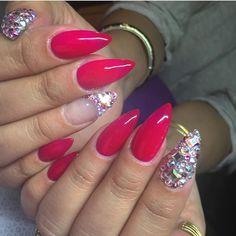 Cherry red stiletto nails with Swarovski crystal features.  by thenailbarsydney http://ift.tt/1NRMbNv