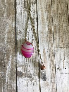 Pink+banded+agate+and+crystal+wrap+necklace