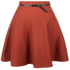 Rust Knitted Belted Skater Skirt ($20) ❤ liked on Polyvore featuring skirts, brick, red skirt, belted skirt, red flared skirt, circle skirt and flare skirt