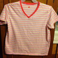 Hanes striped tee Pink and purple stripe tee, V neck, short sleeve Hanes Tops Tees - Short Sleeve