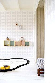 FRIVOLE boysroom, kidsroom, Ferm Living harlequin wallpaper, pastel paintcolours Painting the Past, wallstickers KEK Amsterdam, bug cards Hagedornhagen, railroad Playmobil WWW.FRIVOLE.NL