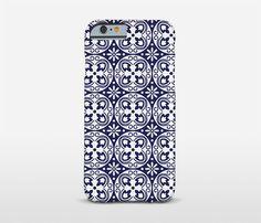 Modernist Phone Case Blue Tiles Barcelona Style by Macrografiks