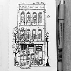 """Portland Coffee Shop 1 #illustration #drawing #penandink #micron #mymoleskine #moleskineart #dailydrawing #saturdaymorning #coffee #architecture…"""