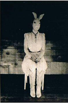 Strange illuminati??   Ghostly woman in creepy bunny rabbit head.