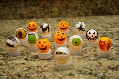 hey are made using flameless tea lights and ping pong balls. Yes, that's right, ping pong balls. The tutorial for making these outstanding Halloween tea lights is found at Boo Turtle. Crafts For Seniors, Fall Crafts, Decor Crafts, Crafts To Make, Christmas Crafts, Crafts For Kids, Elderly Crafts, Elderly Activities, Senior Activities