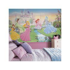 This Dancing Princess Chair Rail Pre-Pasted Mural by Disney is perfect! Princess Mural, Disney Princess Bedding, Princess Chair, Princess Theme Bedroom, Princess Castle, Royal Princess, Large Wall Murals, Mural Wall Art, Wall Decals