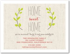 Home Sweet Home Moving Announcement by Tiny Prints.